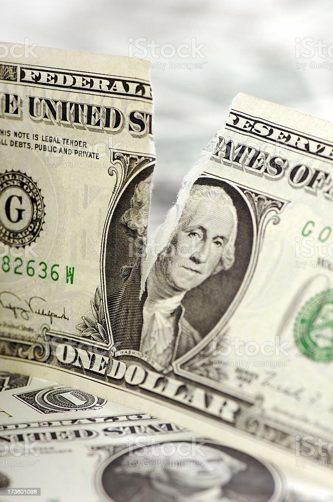 Torn dollar bill stock photo