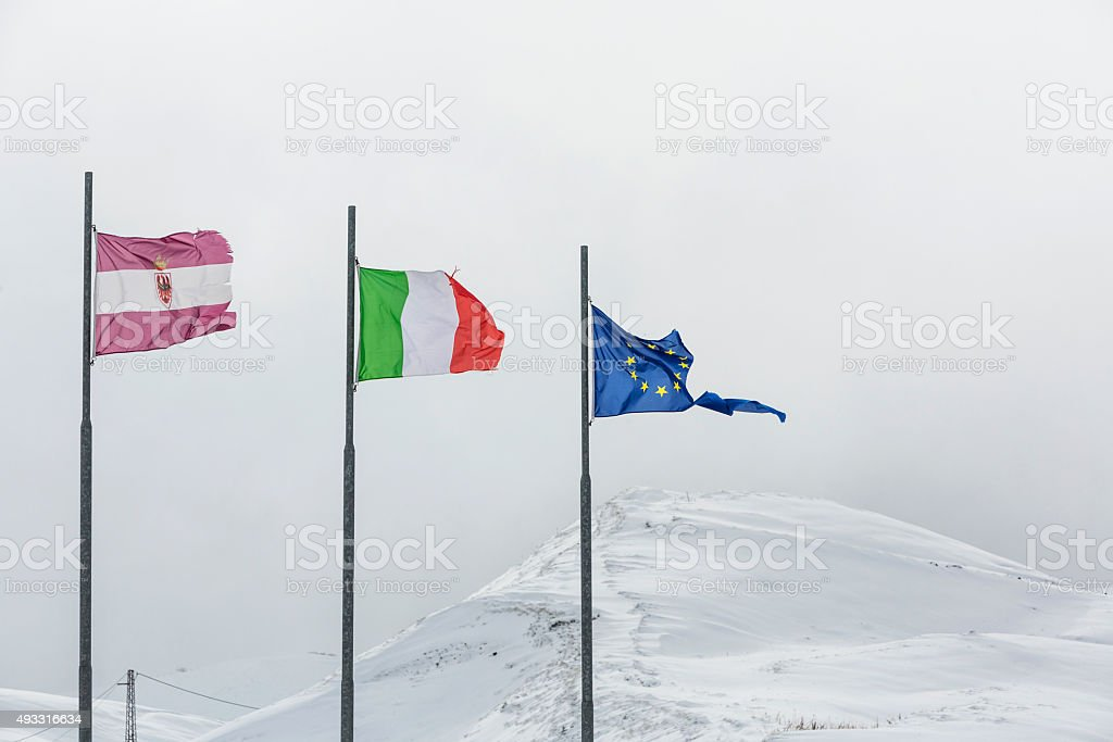 Torn European Union flag on white background stock photo