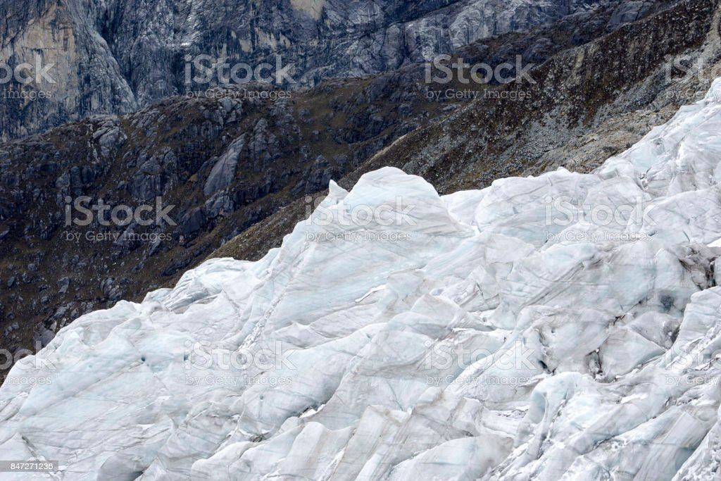 torn glacier abstract in Peru stock photo