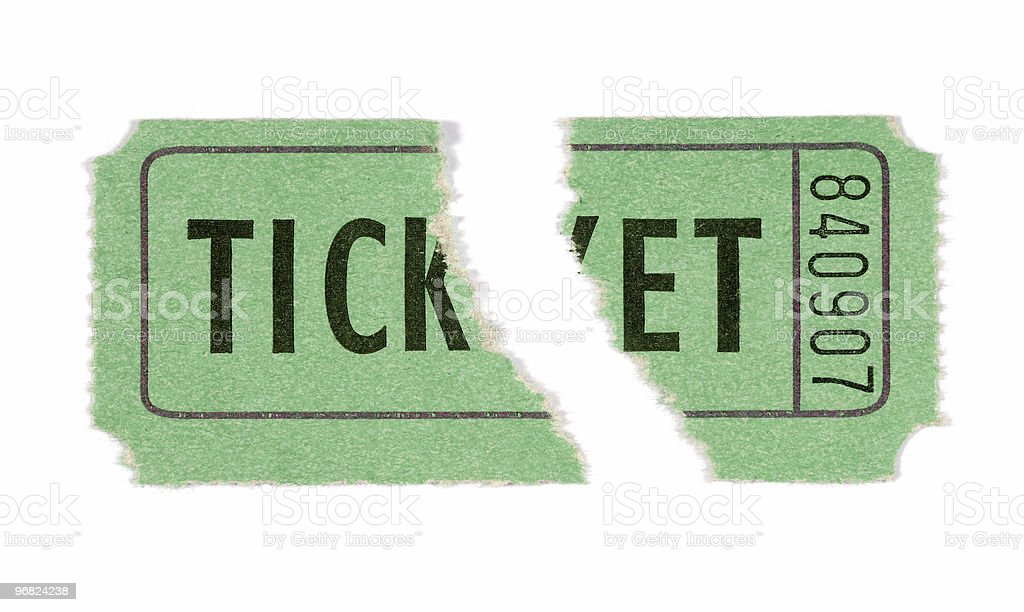 Torn green admission ticket royalty-free stock photo