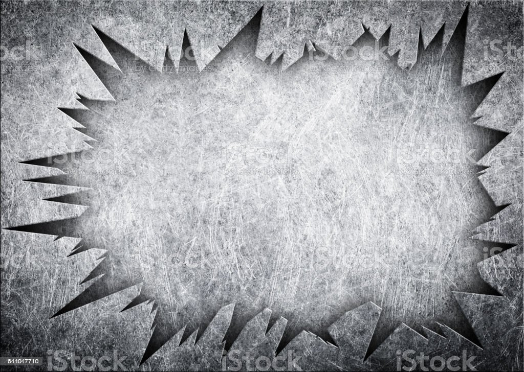 torn hole in the metal sheet, steel plate damaged stock photo