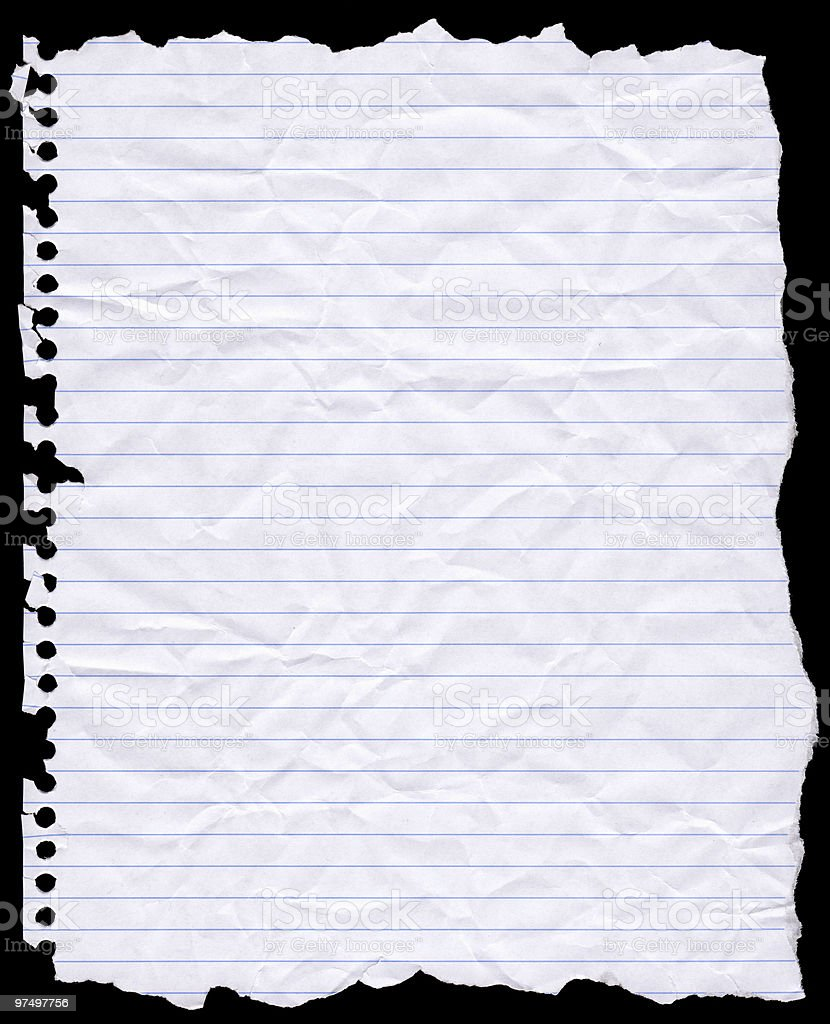 Torn Hole Punched Writing Paper stock photo