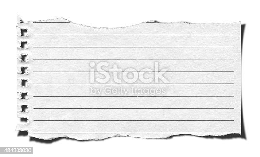 Torn Lined Paper Background Textured Isolated Stock Photo