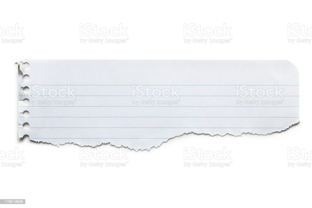 Torn Lined Paper Banner Isolated royalty-free stock photo