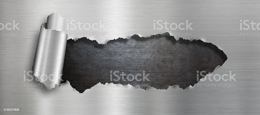 Torn metal hole background stock photo