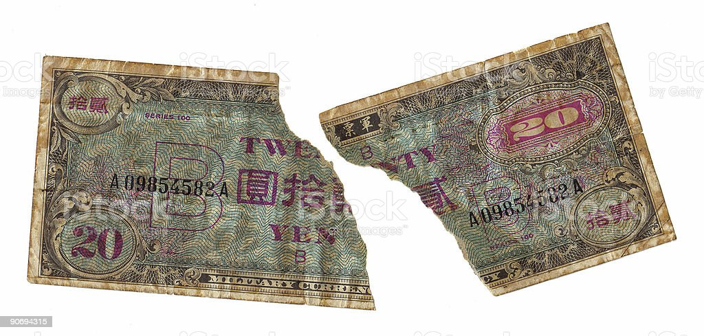 Torn Military Currency royalty-free stock photo