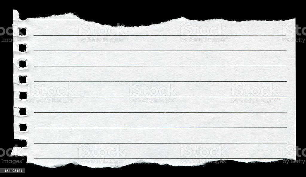 Torn Notebook Page background textured isolated (XXXL) stock photo