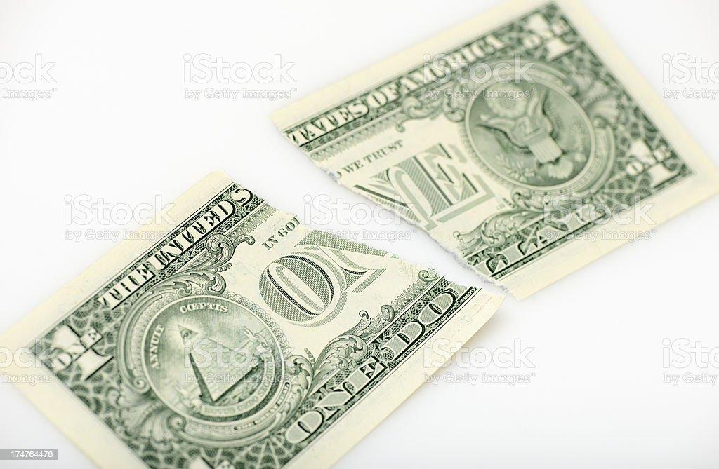 Torn one dollar bill stock photo