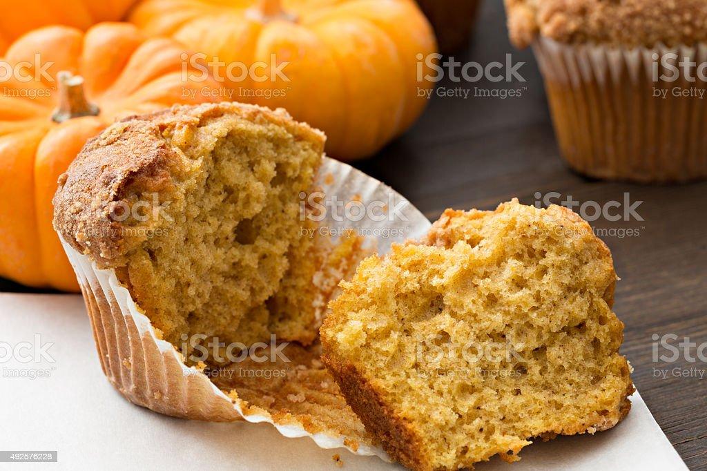 Torn Open Pumpkin Muffin stock photo