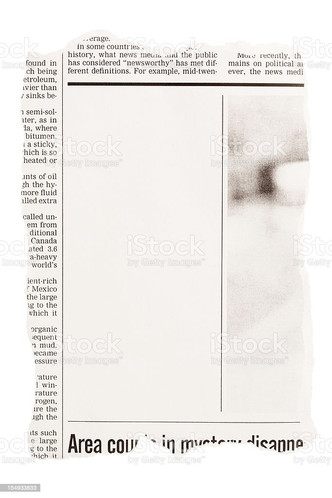 Torn out newspaper clipping with blank space stock photo