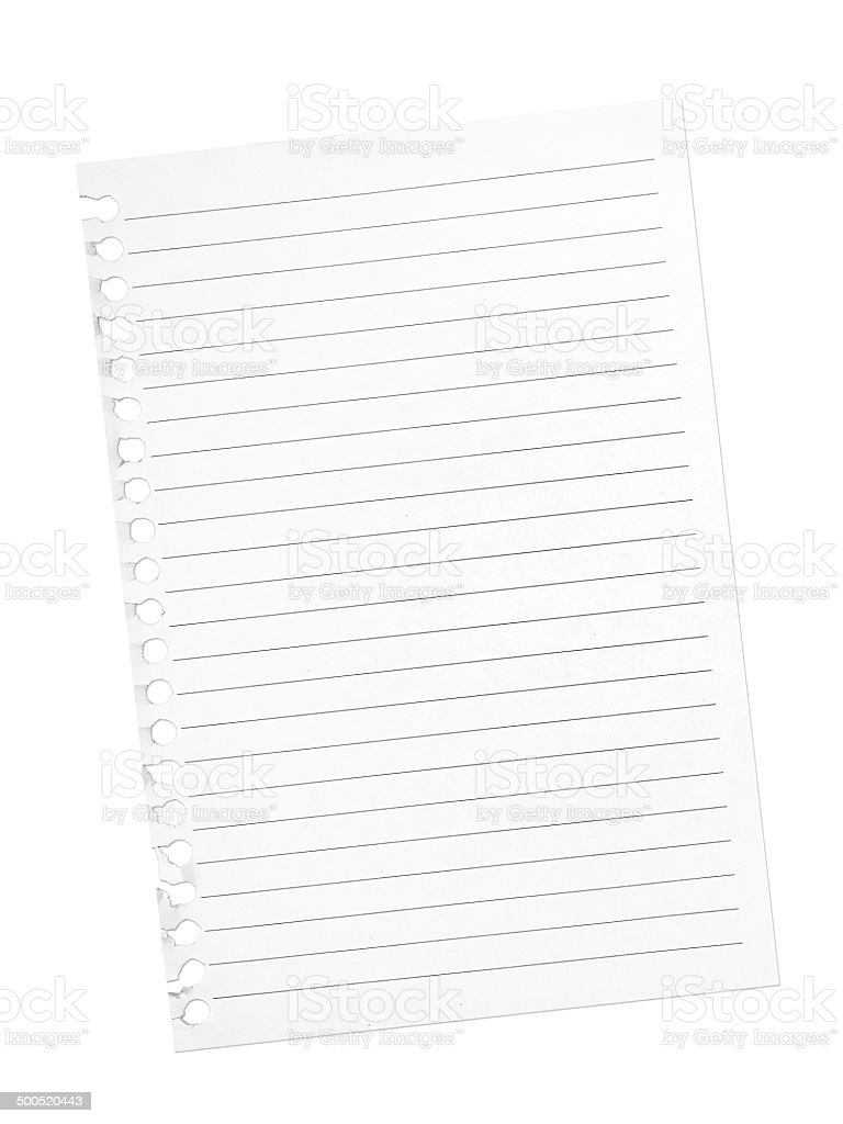 Torn page from spiral bound notebook. Blank. White background. stock photo