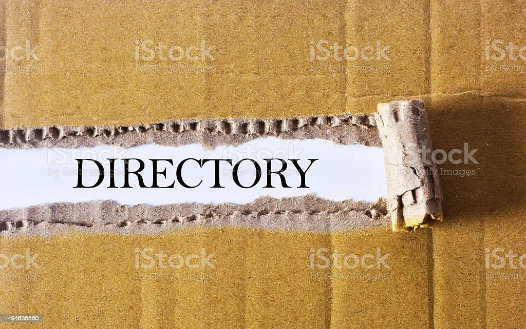 Torn paper box with word directory - BUSINESS CONCEPT stock photo