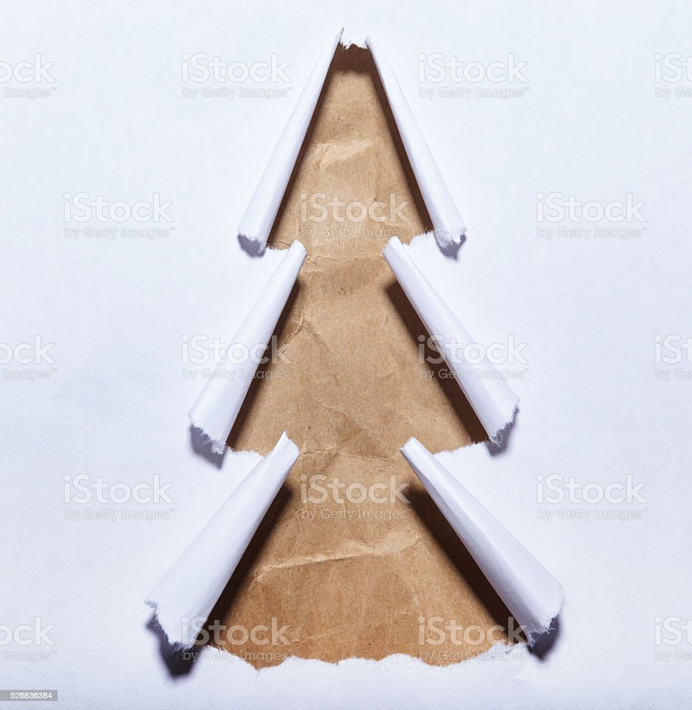 Torn paper christmas tree stock photo
