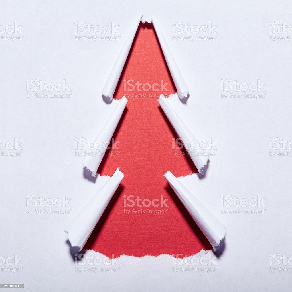 Torn paper christmas tree stock photo