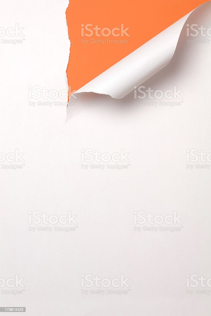 Torn paper. Cut Tearing Discovery White Orange royalty-free stock photo