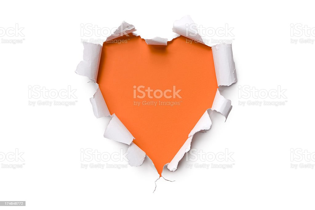 Torn paper heart shape  Orange Valentine's Day Hole Tearing Love stock photo