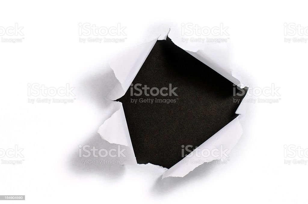 Torn paper hole stock photo