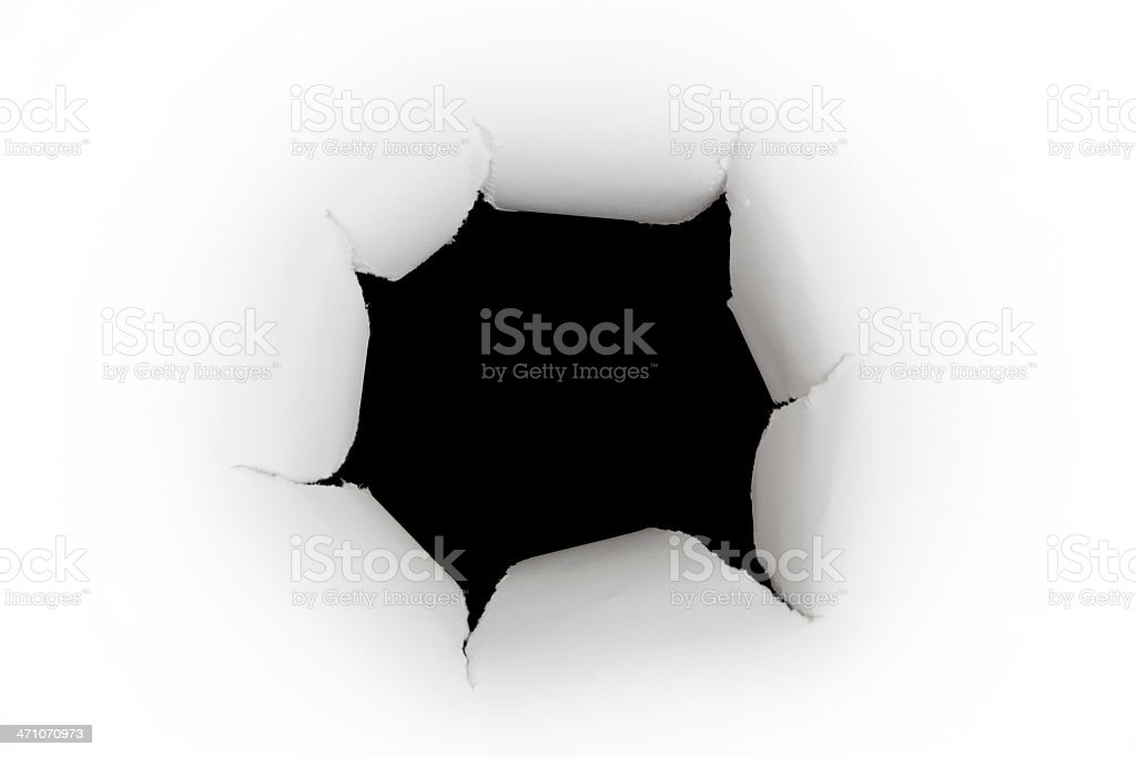 Torn Paper Hole Punched Inward - Straight On View royalty-free stock photo