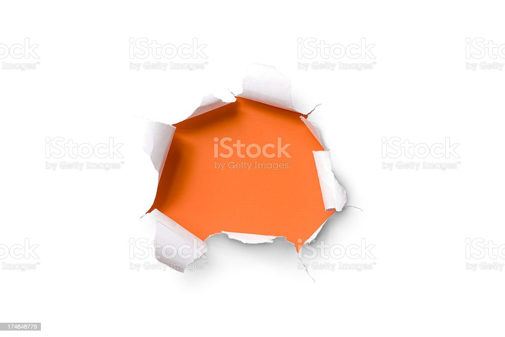 Torn paper hole. Tearing Inside Discovery through Emergence Orange stock photo