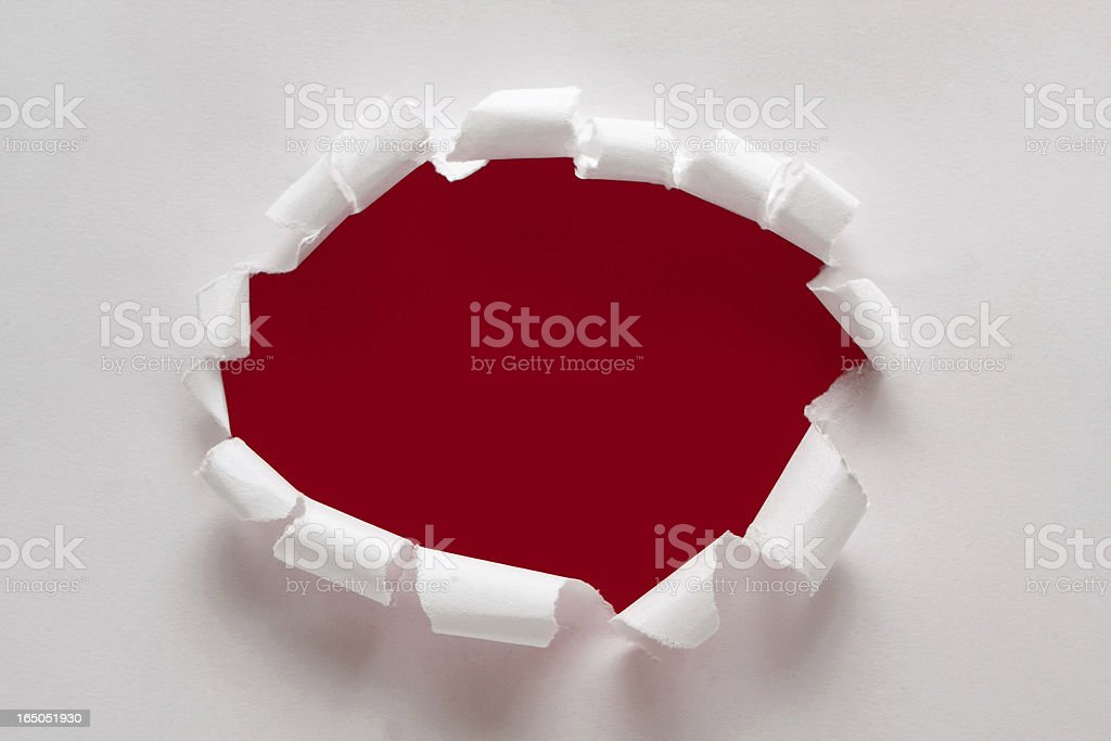 Torn paper hole textured background stock photo