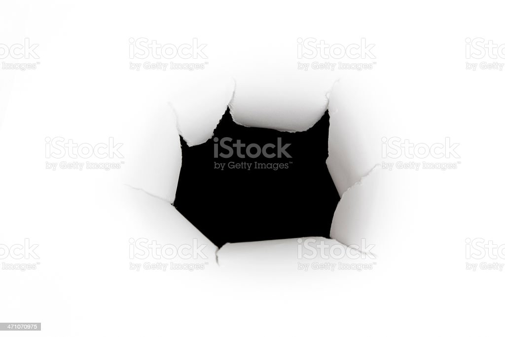 Torn Paper Punched hole - High Angle View royalty-free stock photo