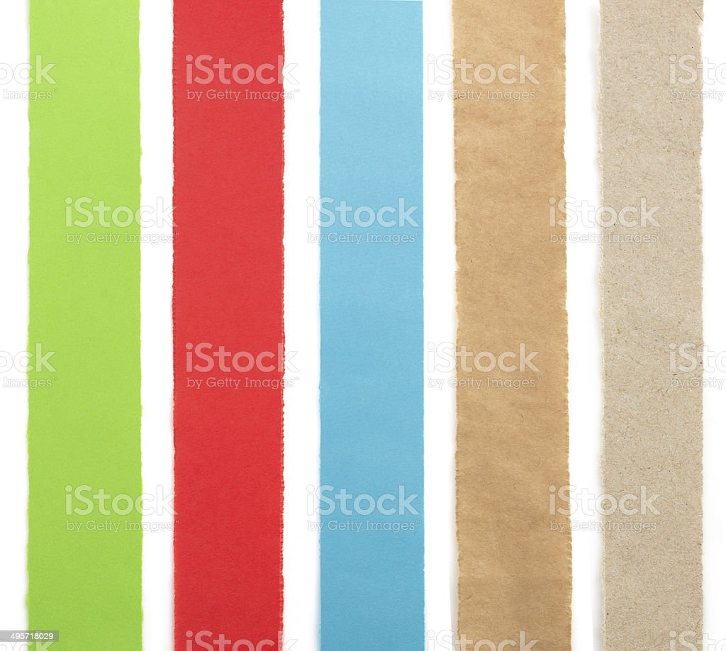 torn paper strips on white stock photo