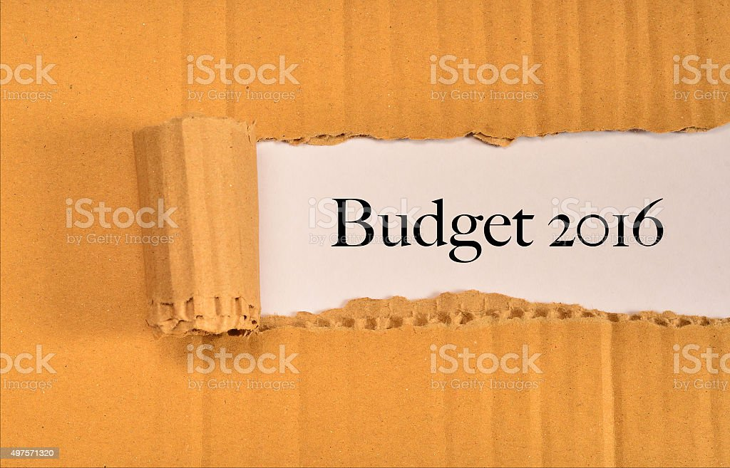 torn paper with word budget 2016 stock photo