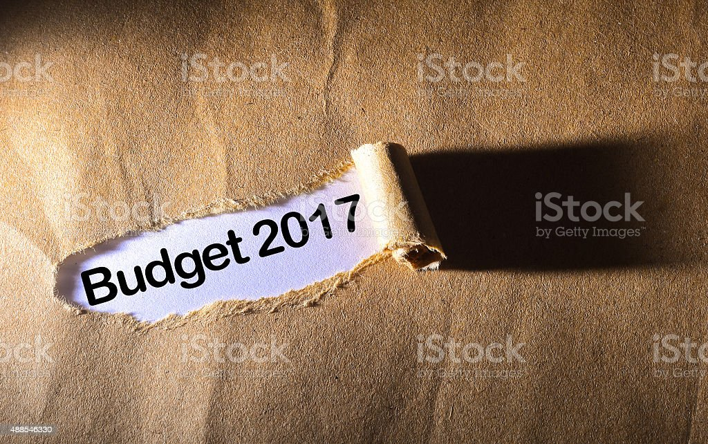 torn paper with word budget 2017 stock photo