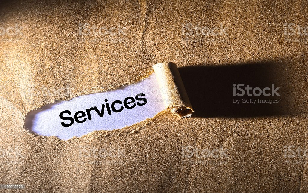 torn paper with word  Services stock photo