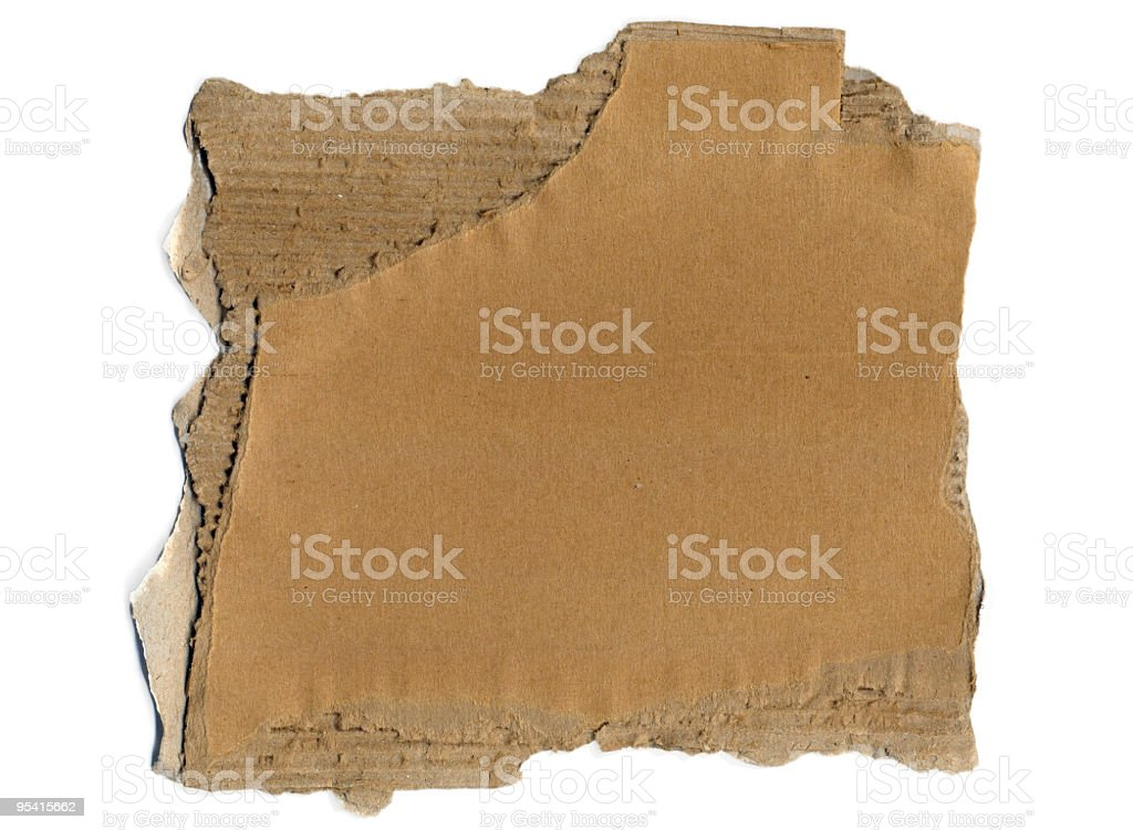 Torn Piece of Cardboard stock photo