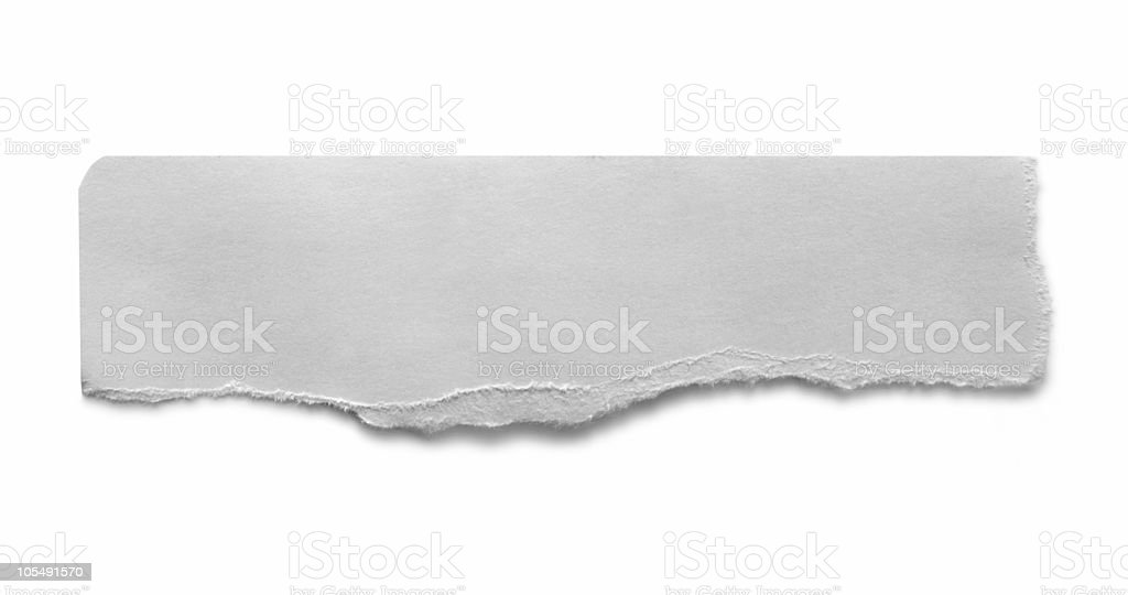 A torn piece of paper on a white background royalty-free stock photo