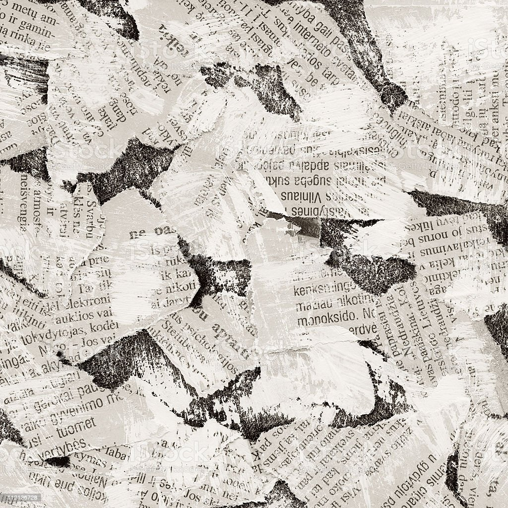 Torn pieces of newspaper as background royalty-free stock photo