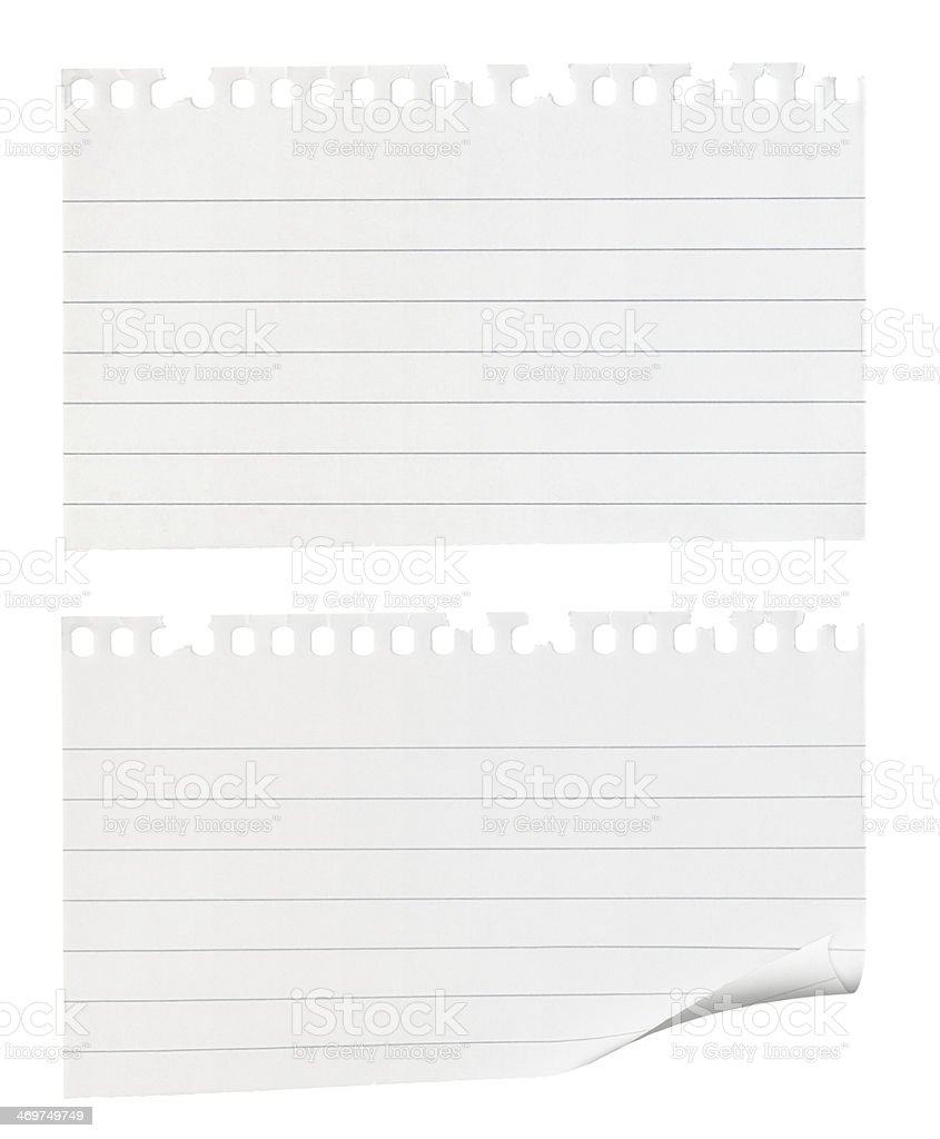 Torn pieces of note paper stock photo