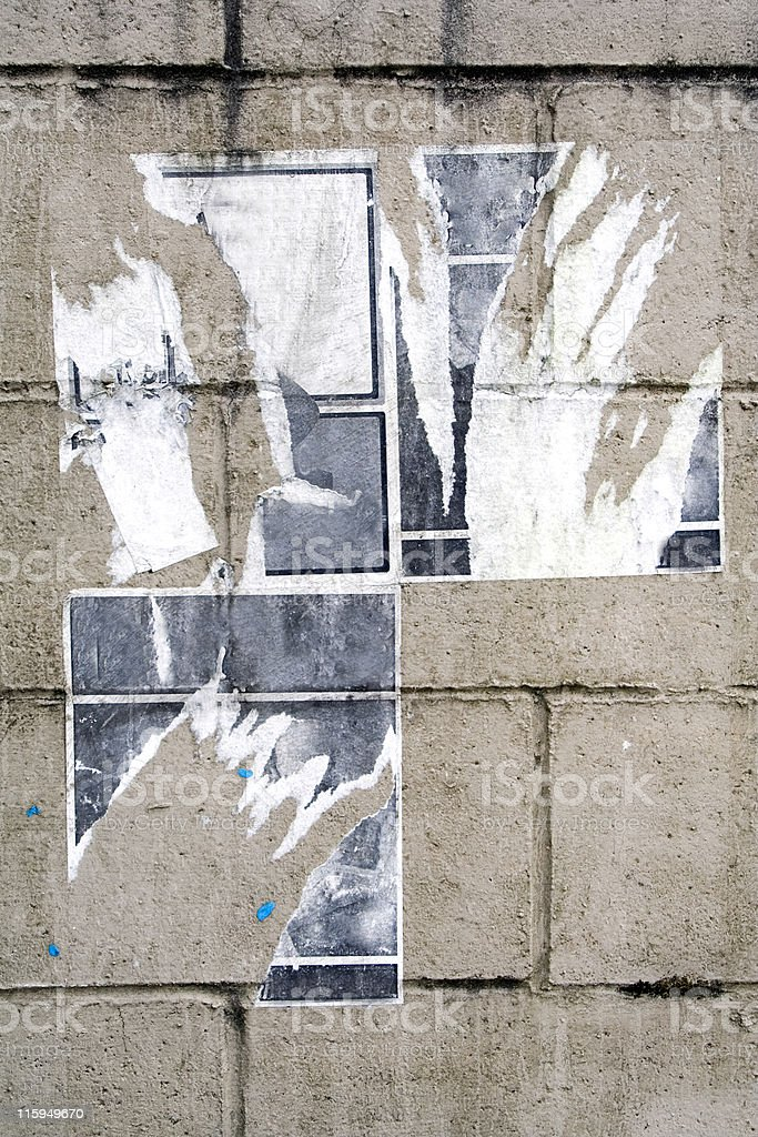 Torn Posters on Brick royalty-free stock photo