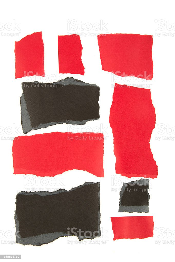Torn red and black paper stock photo