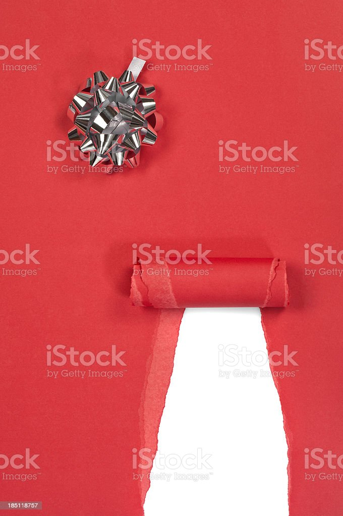 Torn red gift box royalty-free stock photo