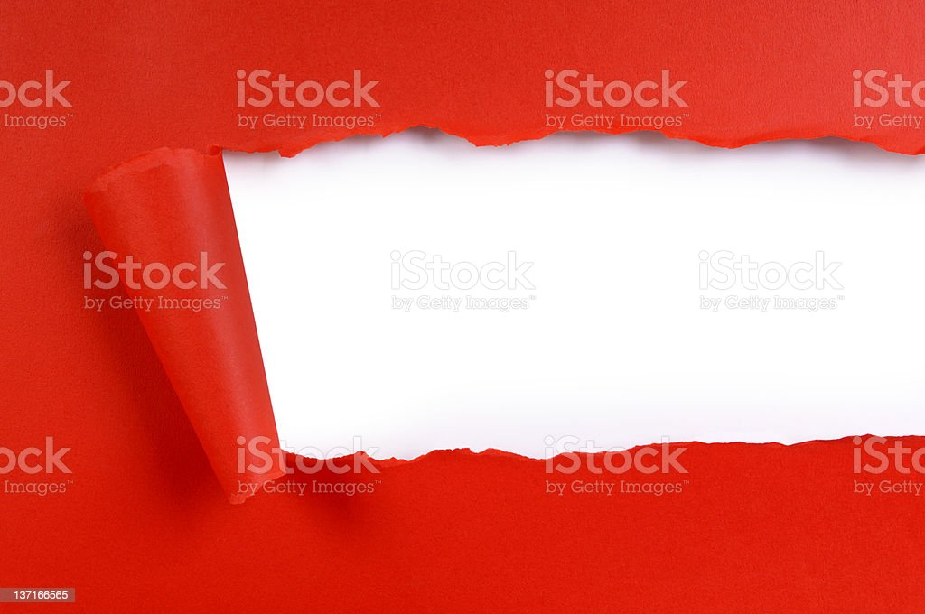 Torn red paper royalty-free stock photo