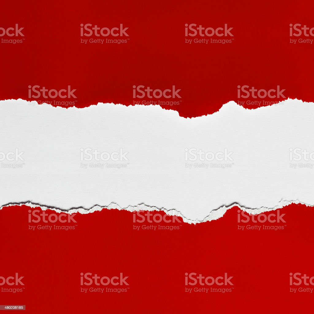 Torn Red Paper with Space for Copy stock photo