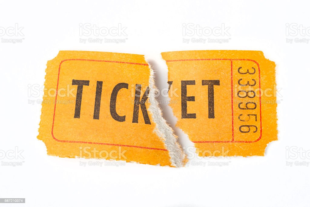 Torn retro ticket stock photo