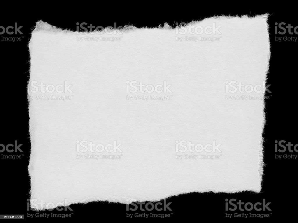 Torn White Paper Rectangular Scrap Isolated on Black Background stock photo
