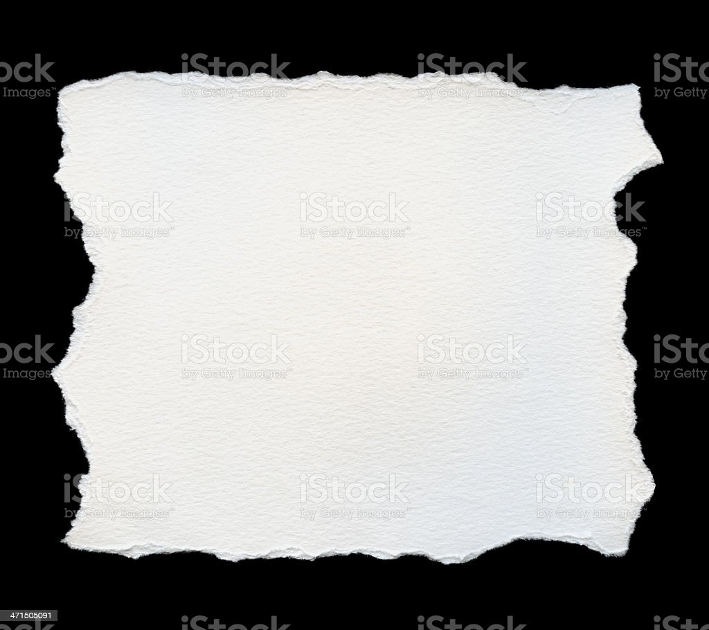 Torn white watercolor paper royalty-free stock photo