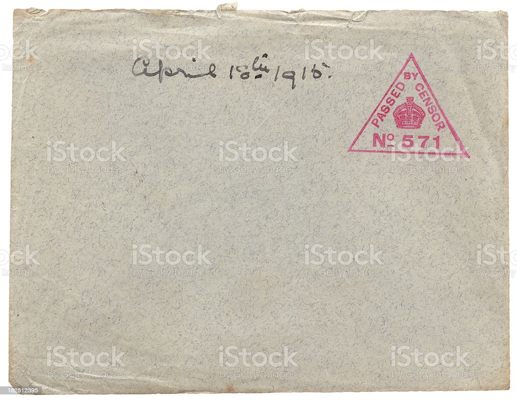 Torn World War One envelope from 1915 royalty-free stock photo