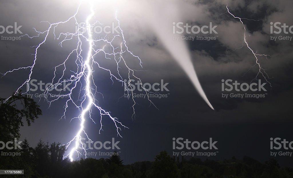 tornado and lightening bolt stock photo