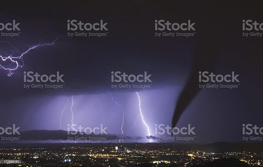 tornado and lightening strike stock photo