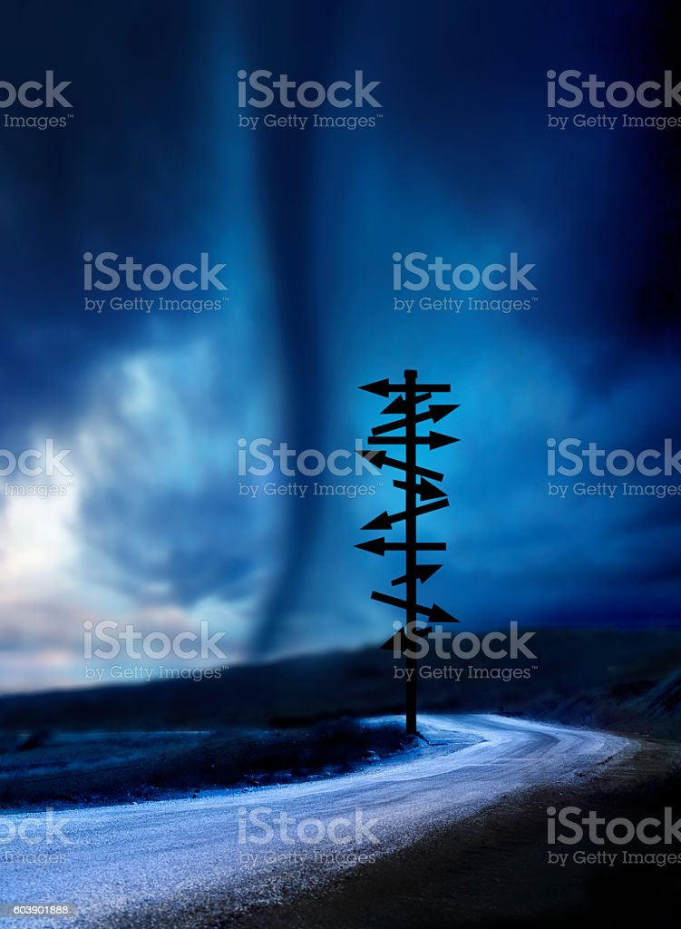 tornado and road sign stock photo