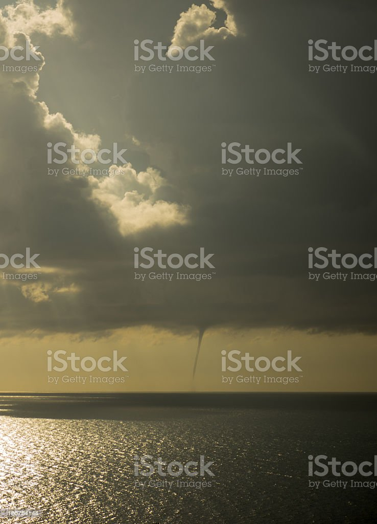 Tornado at the sea royalty-free stock photo