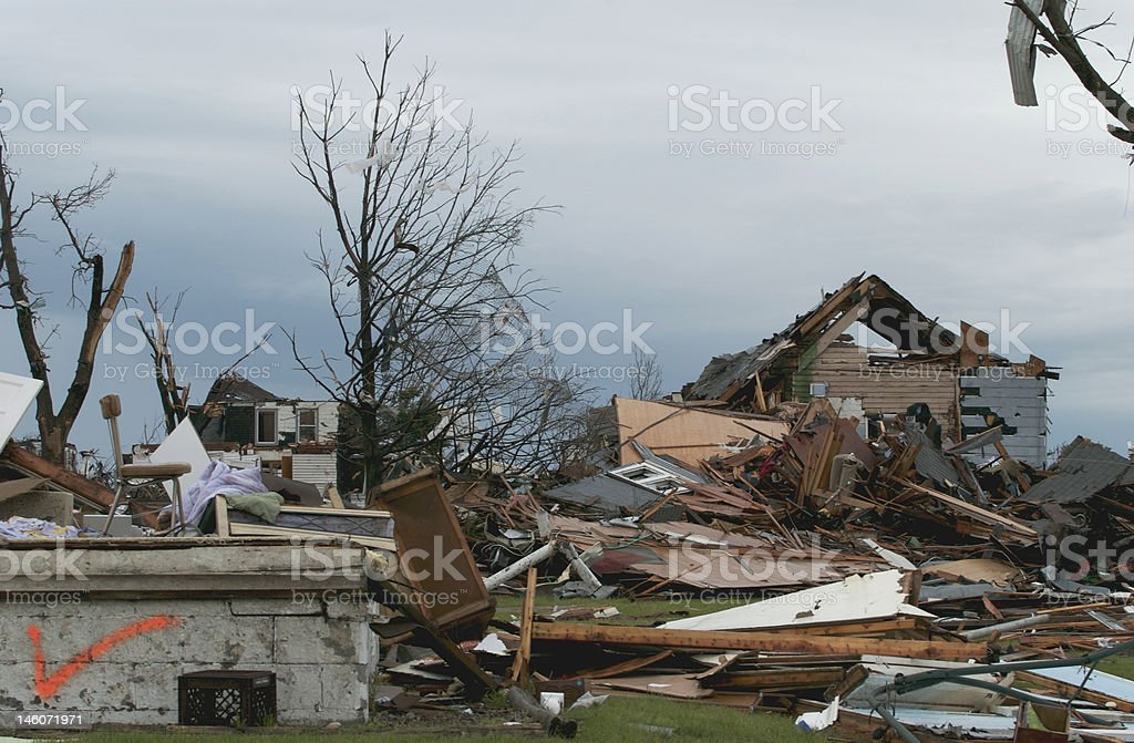 Tornado damage in Parkersburg, Iowa on May 25, 2008 royalty-free stock photo