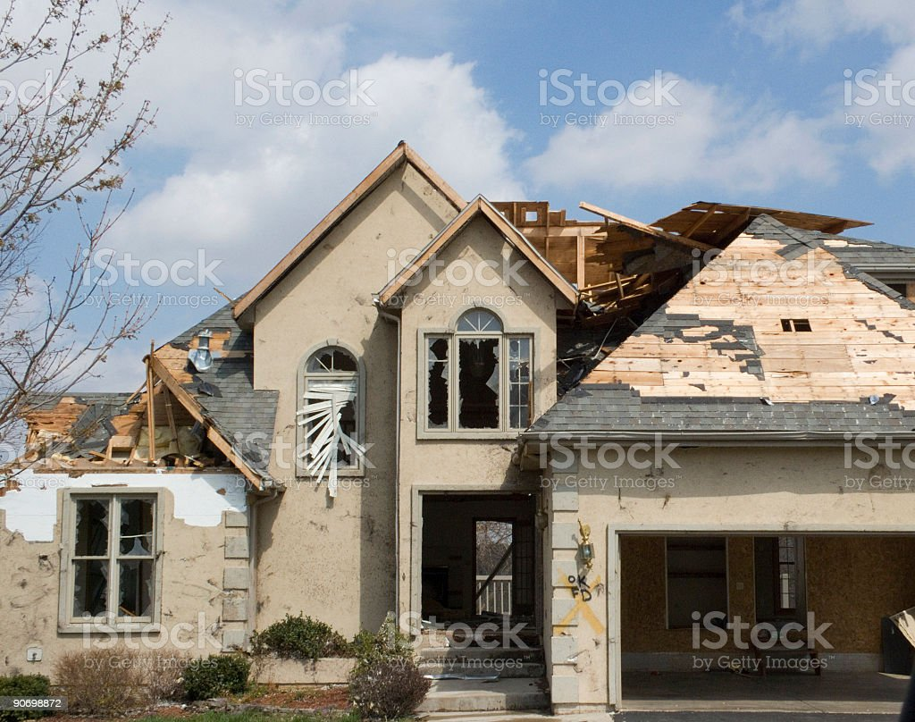 Tornado Damage Stucco-Missouri royalty-free stock photo
