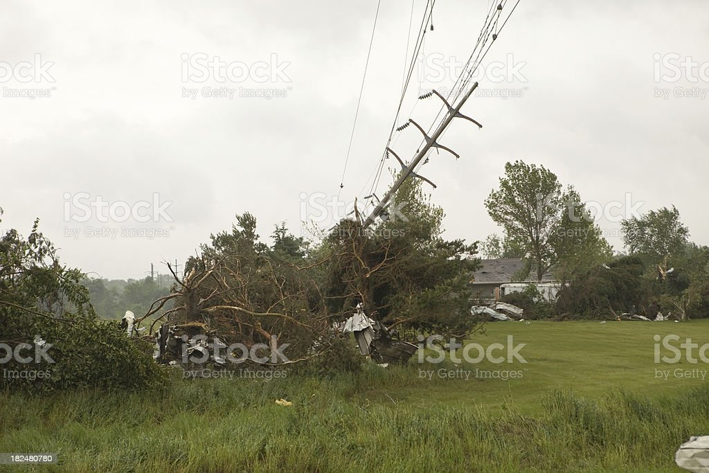 Tornado Damage with Downed Power Line stock photo