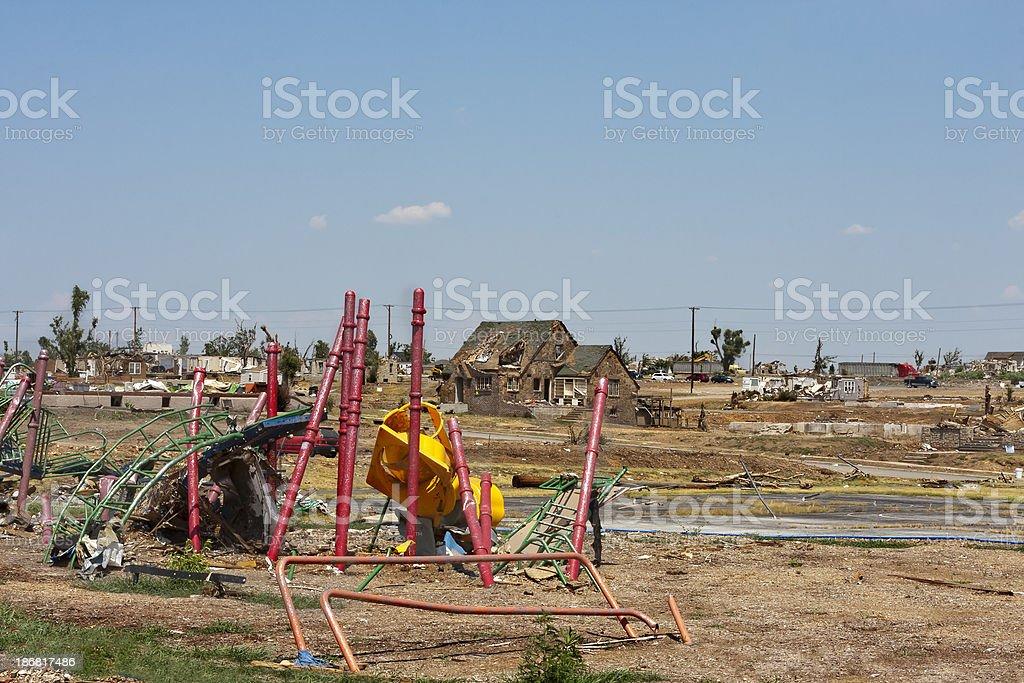 Tornado Damaged Playground and Neighborhood royalty-free stock photo